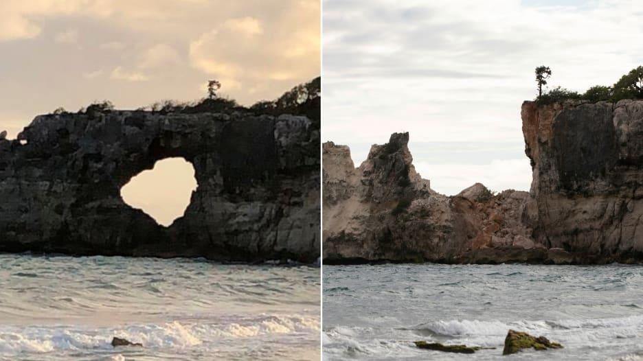 """صخرة """"نافذة البحر الكاريبي"""" يدمرها زلزال"""
