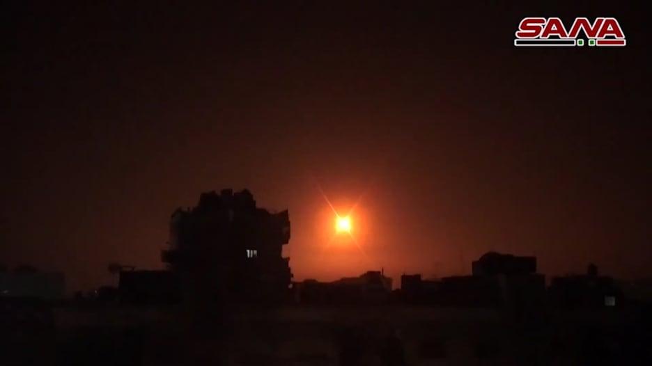 """سانا تنشر فيديو """"اعتراض"""" صواريخ إسرائيلية قرب دمشق"""