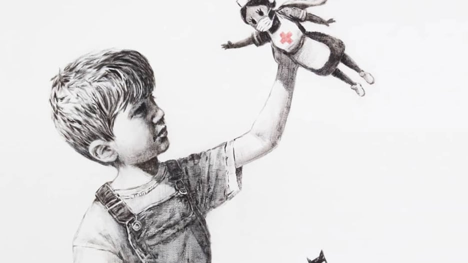 الرسام بانكسي يتبرع بلوحة لتكريم العاملين في مجال الرعاية الصحية