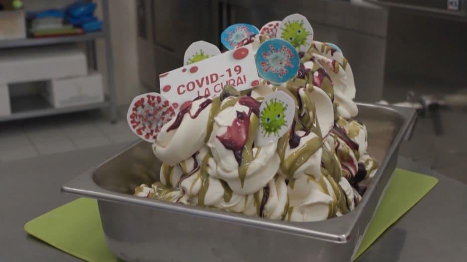 """متجر في إيطاليا يبتكر مثلجات خاصة باسم """"علاج فيروس كورونا"""""""