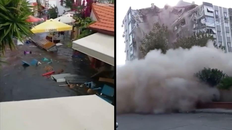 شاهد لحظة انهيار مبانِ.. وتسونامي يغرق منازل بعد زلزال تركيا واليونان