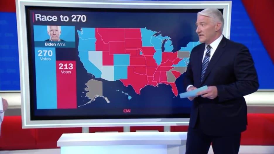 مذيع CNN يتوقع: إذا فاز بايدن بولايتي أريزونا ونيفادا سيكون رئيس أمريكا القادم