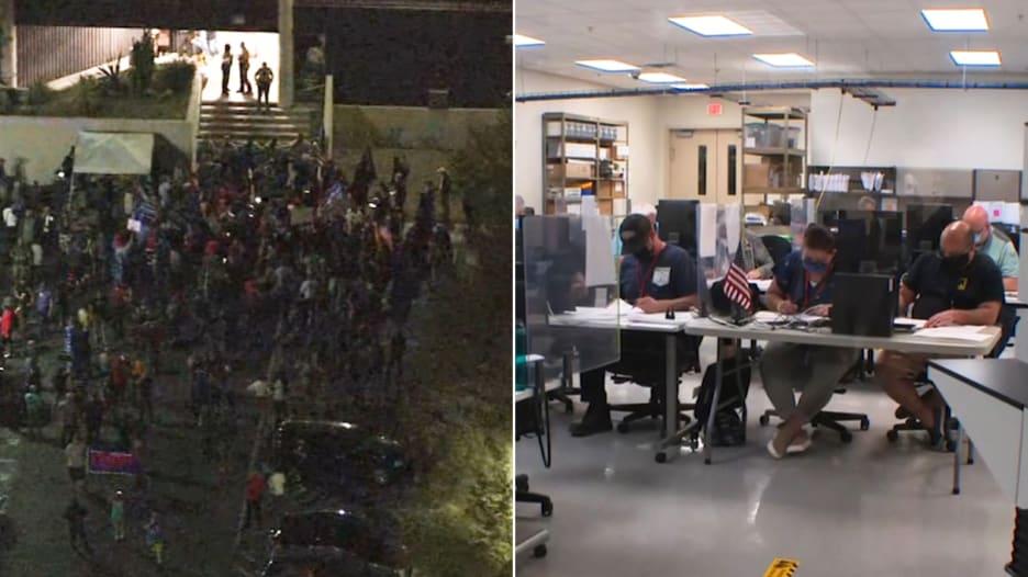 هتافات لترامب خارجها.. من داخل منشأة انتخابات في أريزونا حيث يتم فرز الأصوات