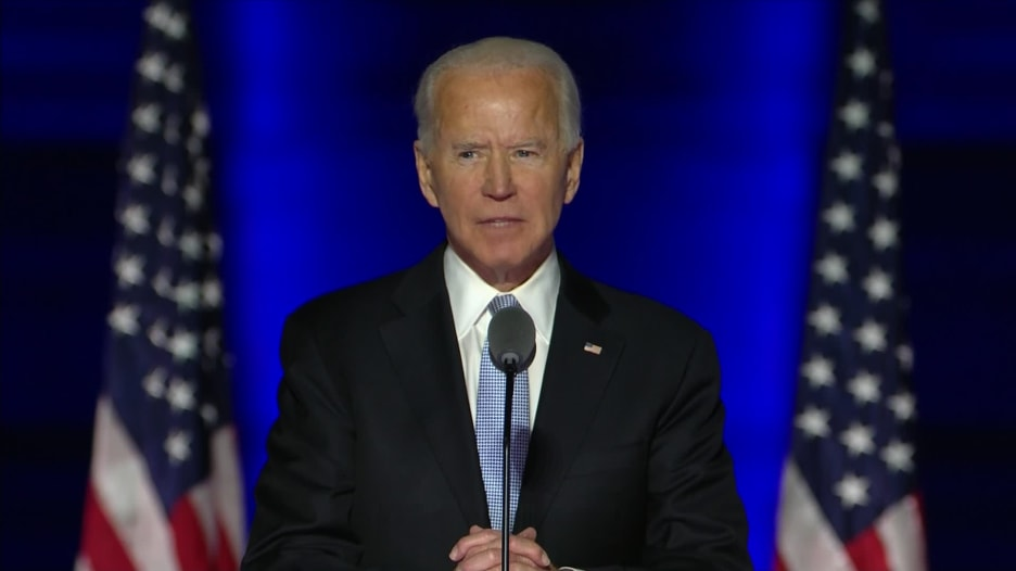 شاهد أبرز ما قاله بايدن في أول خطاب له كرئيس منتخب للولايات المتحدة