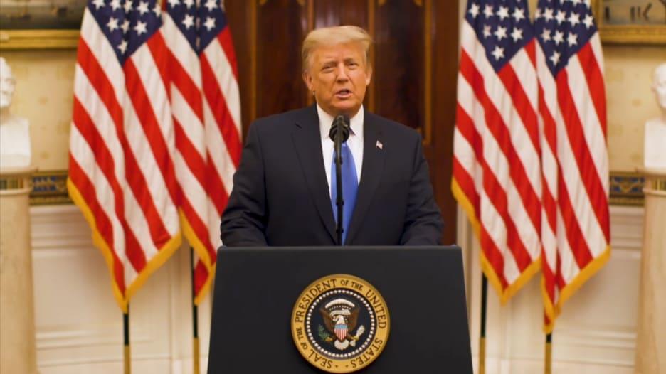 ترامب يلقي خطاب وداعه من الرئاسة: نتقدم بأطيب تمنياتنا وليحالفهم الحظ