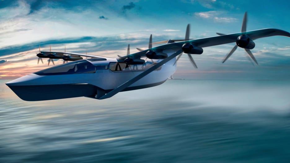 مركبة هجينة ما بين قارب وطائرة كهربائية تسير بسرعة حوالي 300 كيلومتر في الساعة