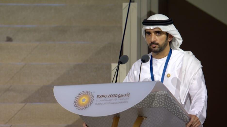 لحظة إعلان الشيخ حمدان بن محمد بن راشد افتتاح فعاليات إكسبو 2020