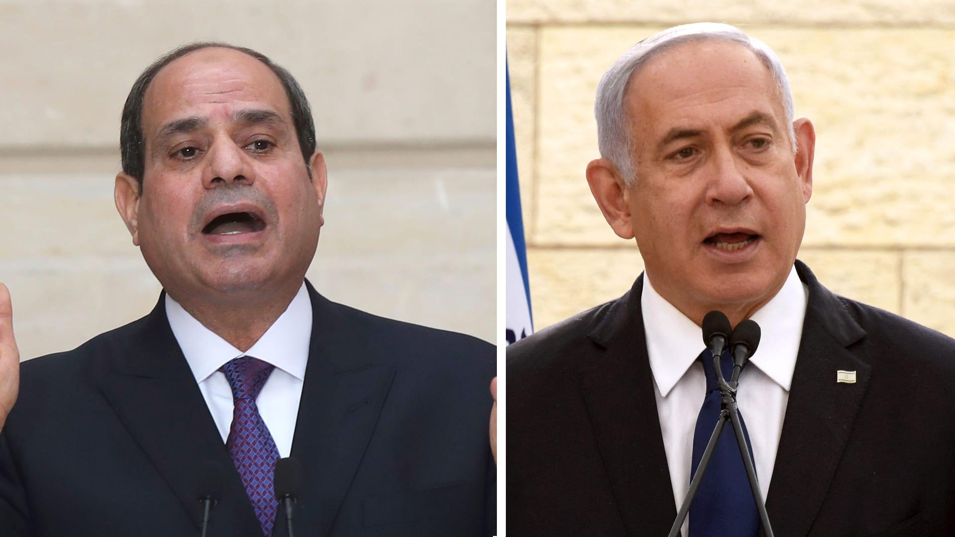 رئيس الوزراء الإسرائيلي بنيامين نتنياهو والرئيس المصري عبدالفتاح السيسي