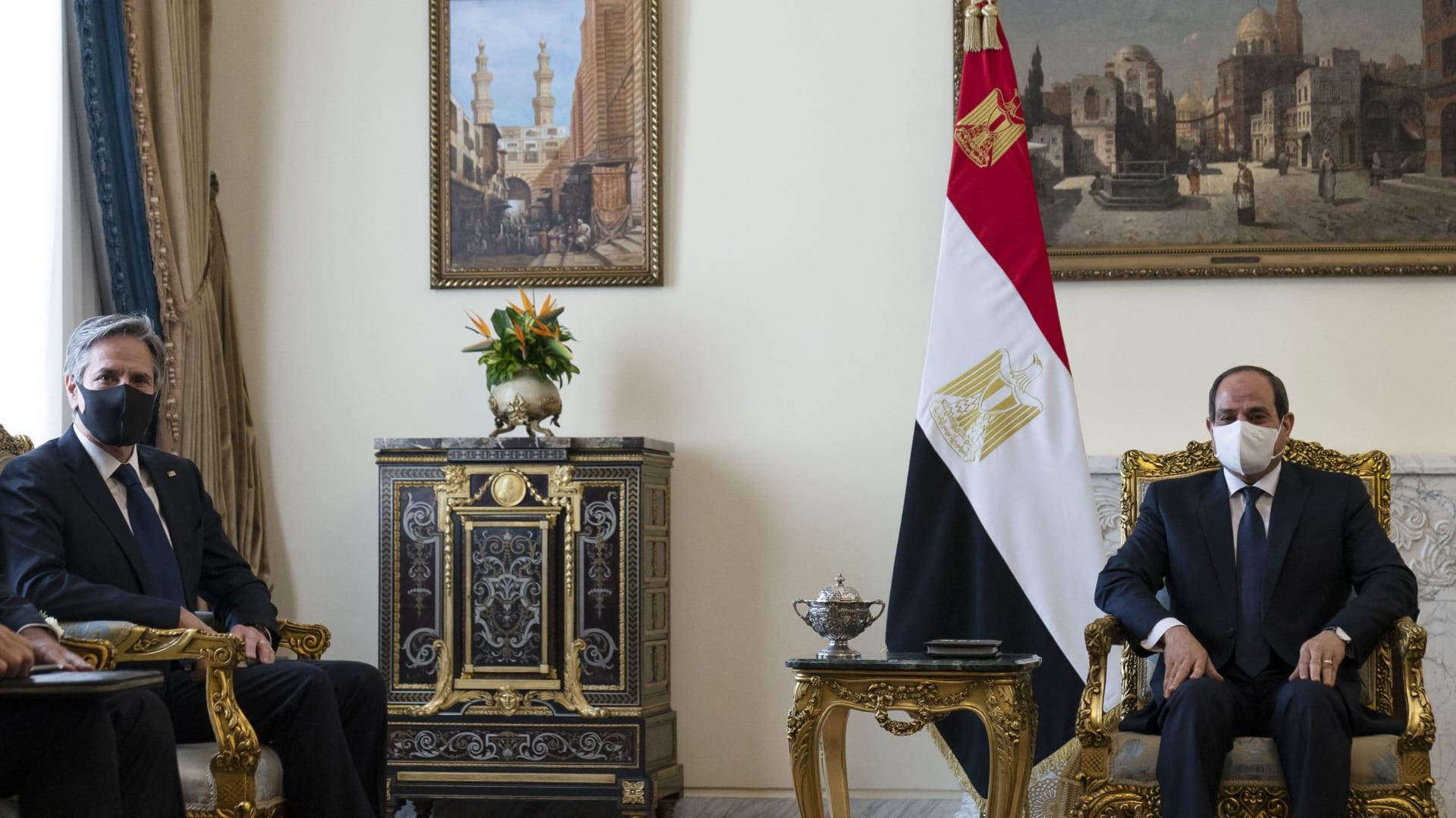 لقاء الرئيس المصري عبدالفتاح السيسي ووزير الخارجية الأمريكي أنتوني بلينكن
