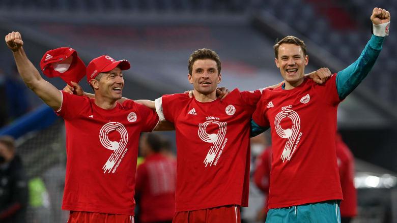 بايرن ميونيخ يفوز بلقب الدوري الألماني للمرة التاسعة على التوالي