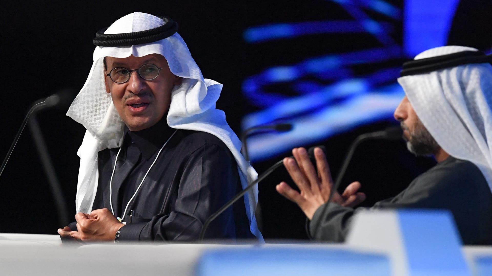 وزير الطاقة السعودي الأمير عبد العزيز بن سلمان آل سعود (إلى اليسار) ووزير الطاقة والصناعة الإماراتي سهيل المزروعي يحضران قمة مستقبل الاستدامة في مركز أبوظبي الوطني للمعارض في 14 يناير 2020