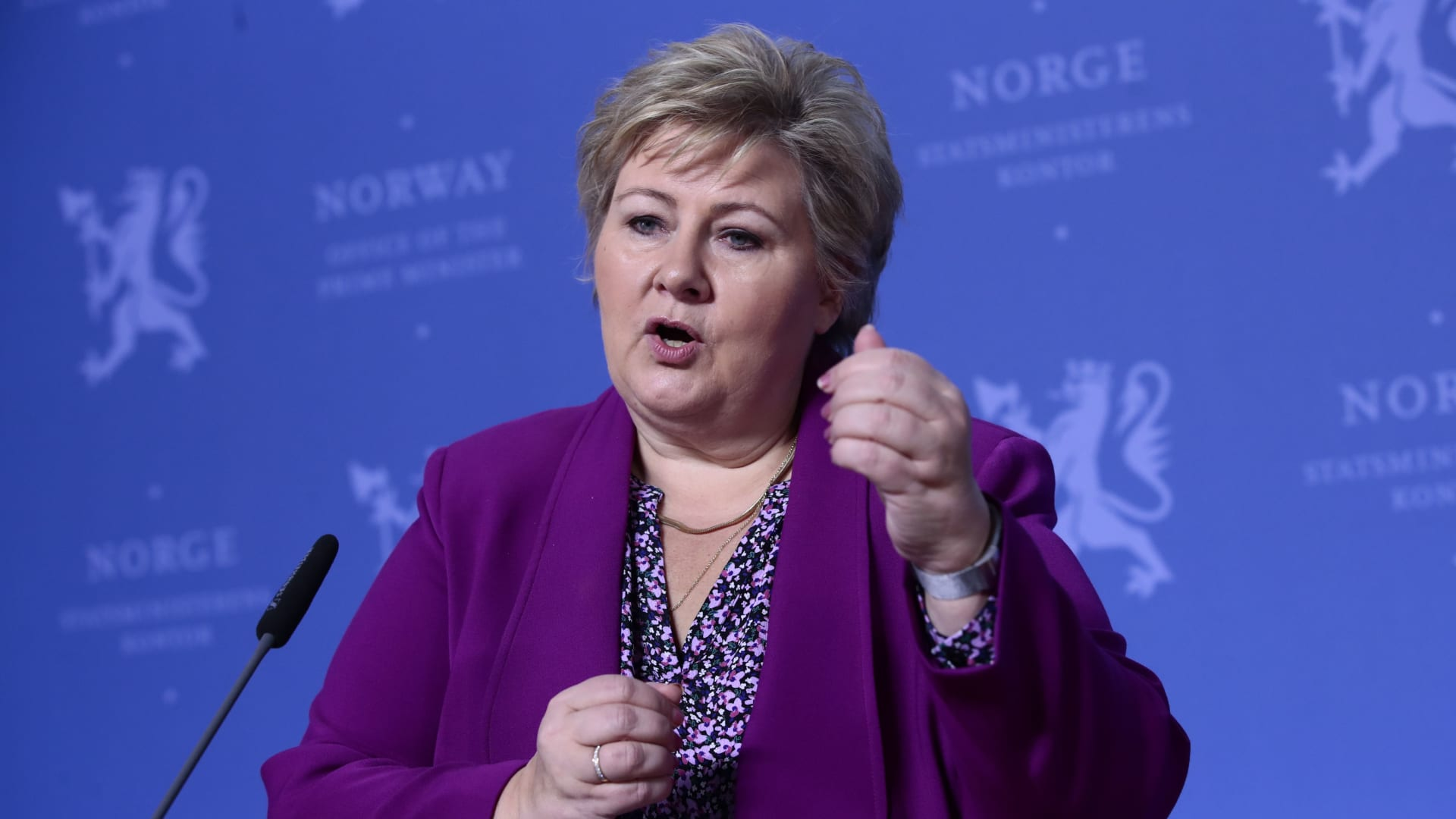رئيسة وزراء النرويج إرنا سولبرغ - صورة أرشيفية