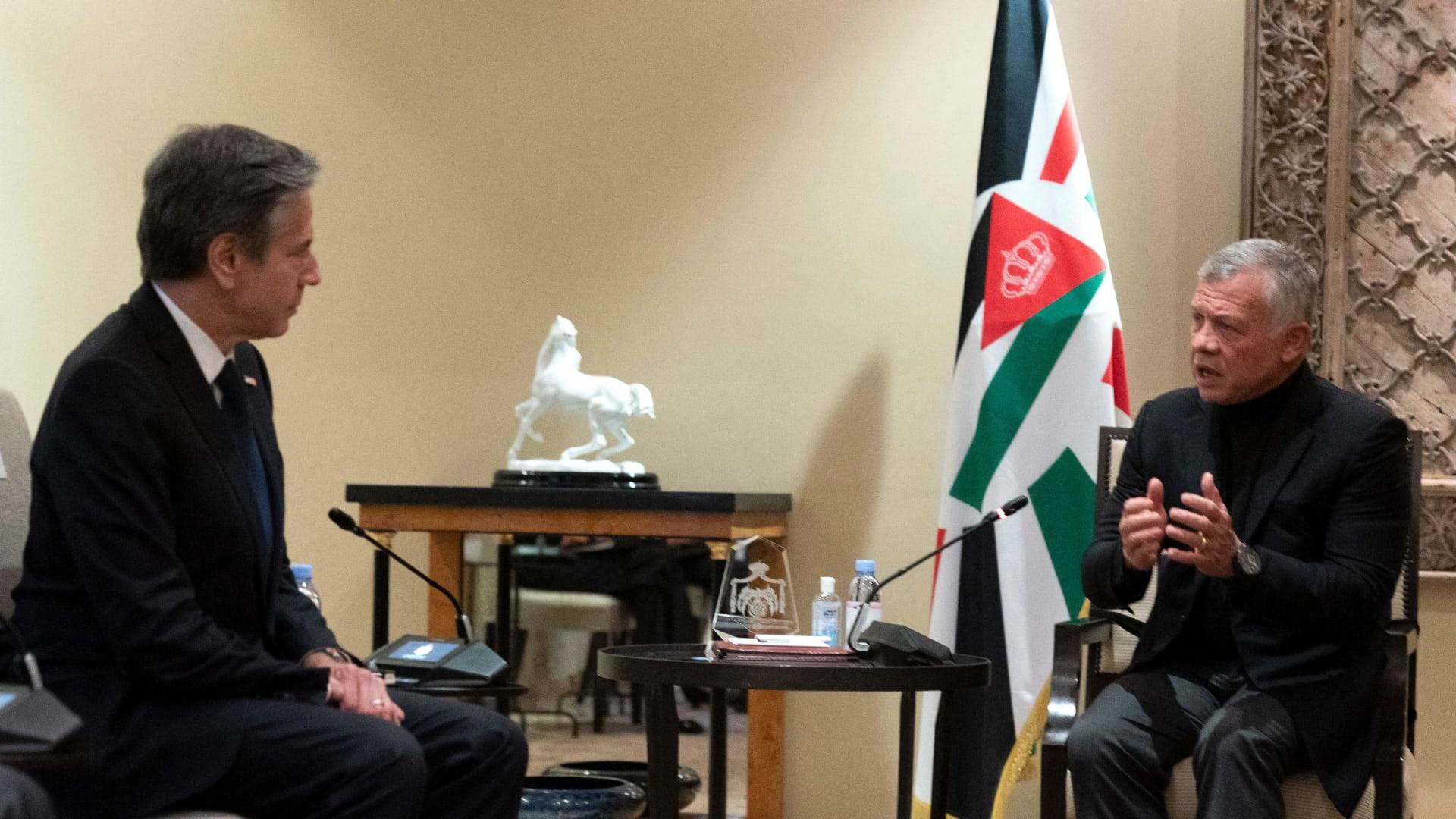 لقاء العاهل الأردني الملك عبدالله الثاني ووزير الخارجية الأردني أنتوني بلينكن