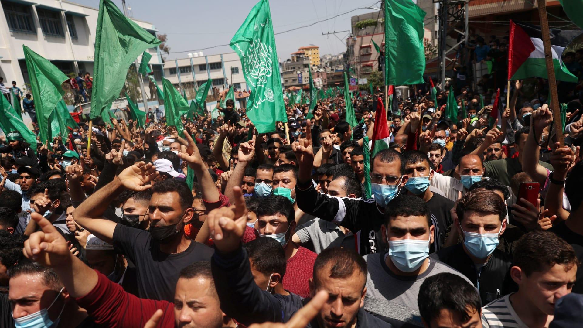صورة أرشيفية من مظاهرات لحركة حماس
