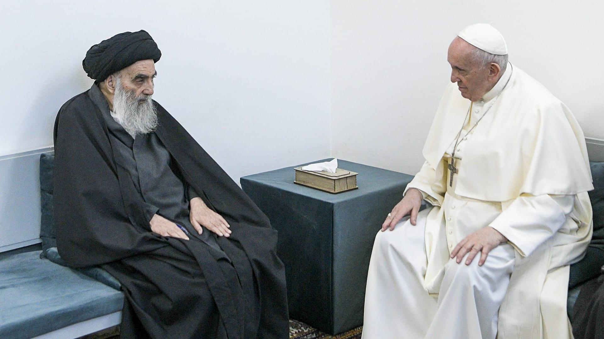 أول لقاء بين السيستاني وبابا الفاتيكان