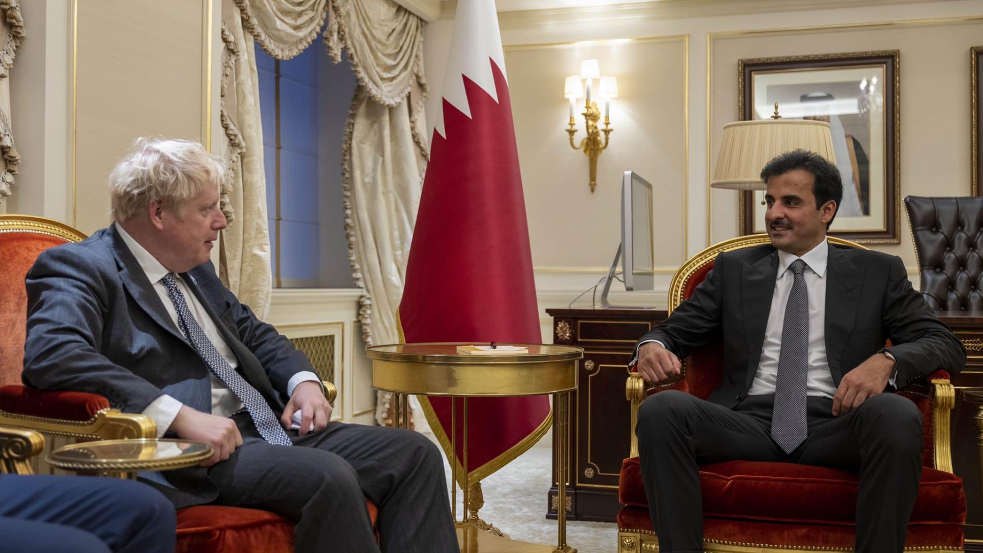 أمير قطر يستقبل بوريس جونسون على هامش أعمال الدورة 76 للجمعية العمومية