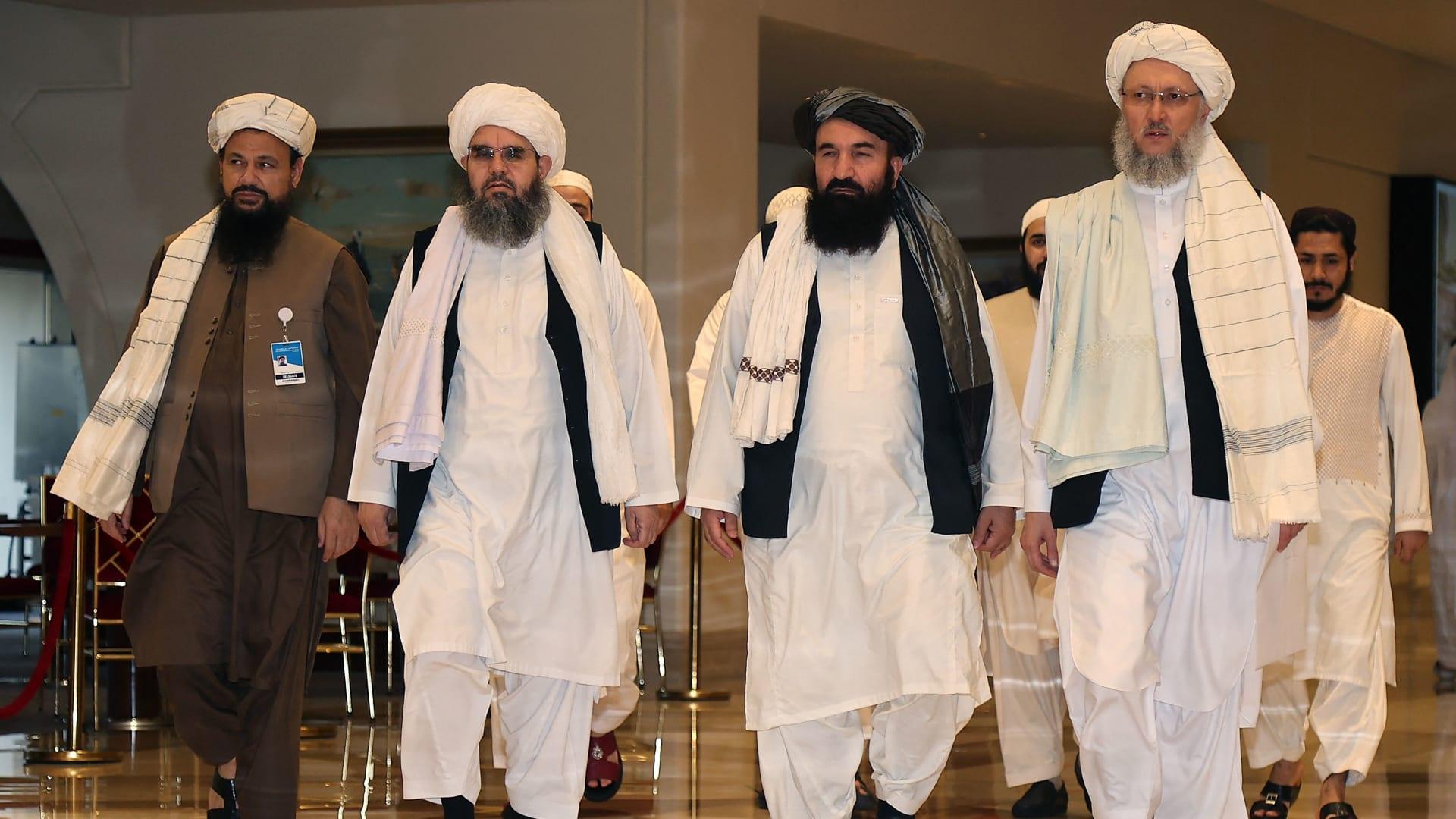 أعضاء وفد طالبان في محادثات قطر