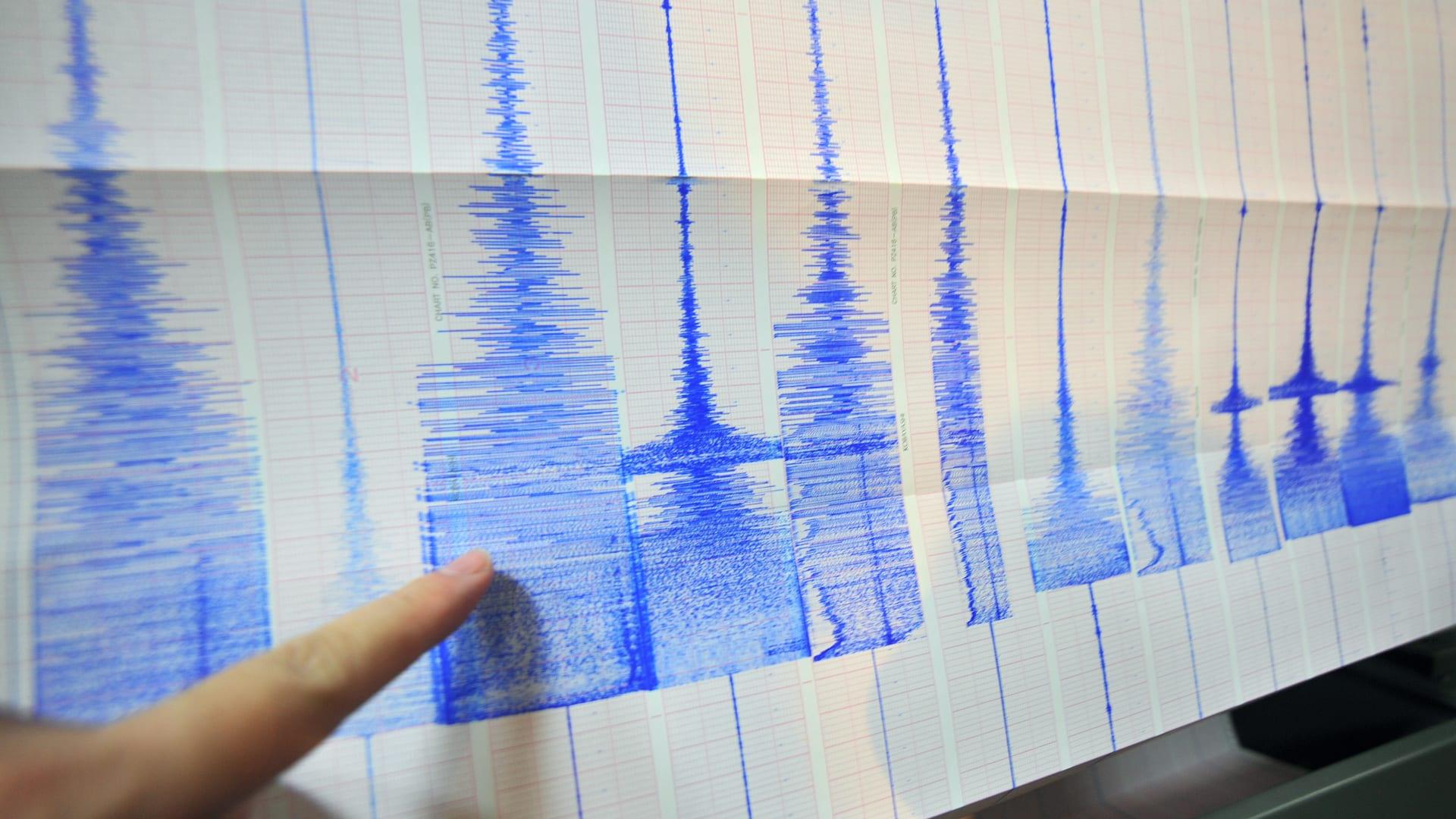 صورة أرشيفية تعبيرية لشخص يشير إلى رسم بياني زلزالي (ليس المقصود في التقرير)