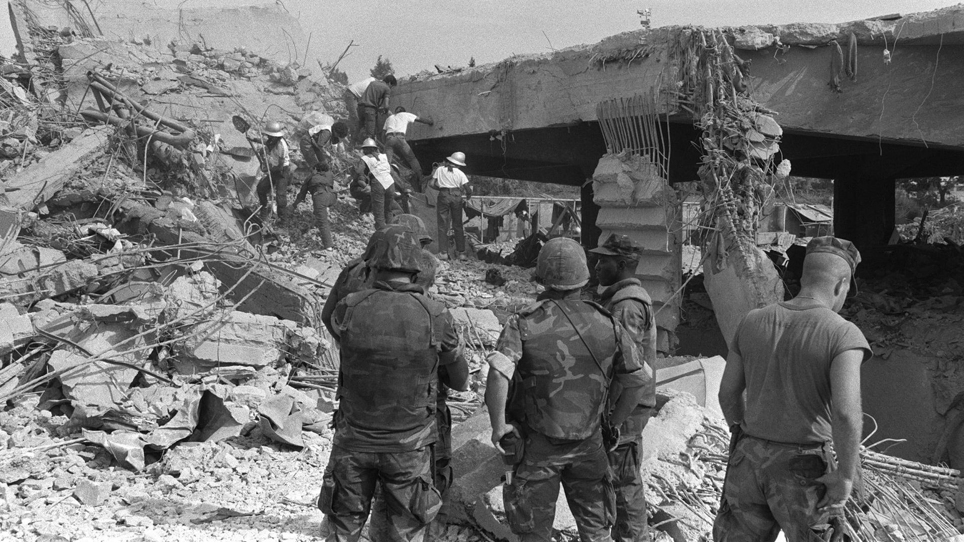 صورة أرشيفية لآثار تفجير ثكنة مشاة البحرية الأمريكية في بيروت عام 1983