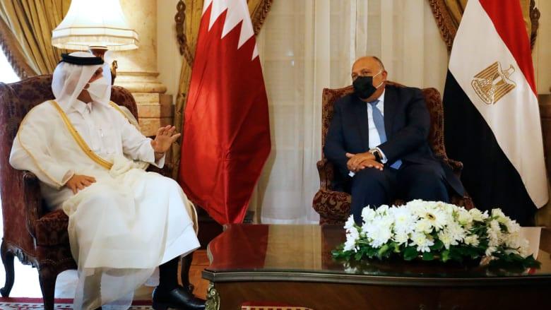صورة أرشيفية من زيارة وزير الخارجية القطري إلى مصر في 25 مايو 2021