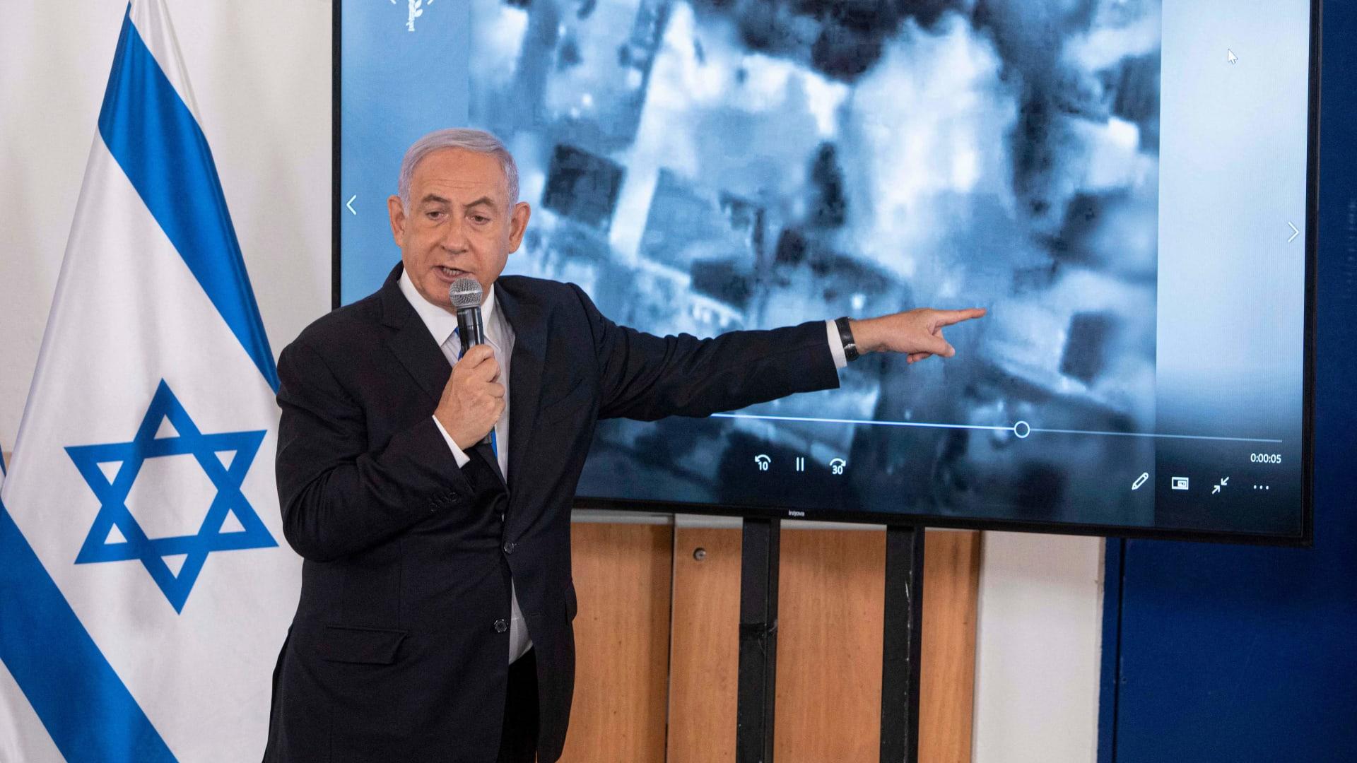 رئيس الوزراء الإسرائيلي خلال عرض للعمليات في غزة، الأربعاء 19 مايو 2021