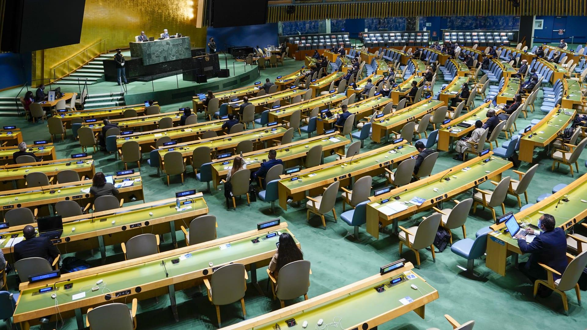 من جلسة الجمعية العمومية في الأمم المتحدة